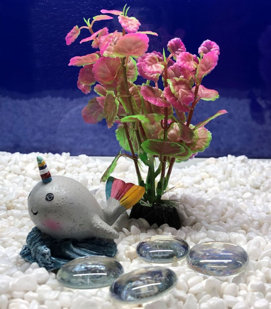 Mini Rainbow Unicorn Whale Fun Aquarium Ornament with Plastic Plant and Glass Beads